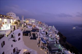 Santorini at Night, Greece, Art Print