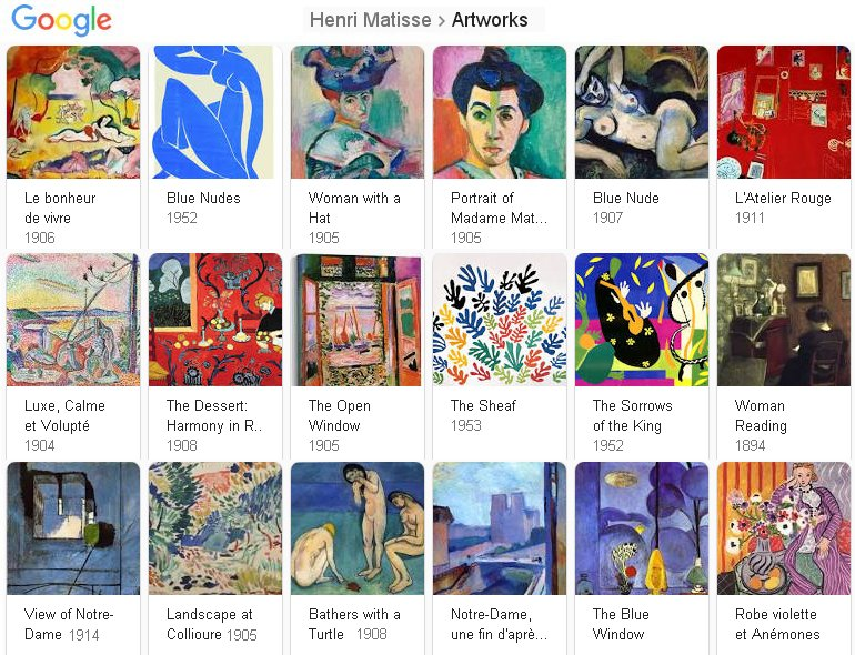 Henri Matisse Google results