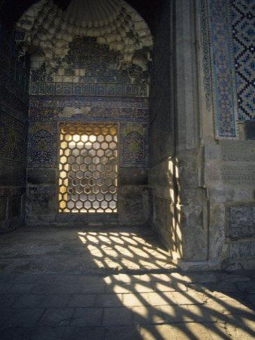 Hexagon Patterned, Registan, Samarkand, Uzbekistan, Art Print