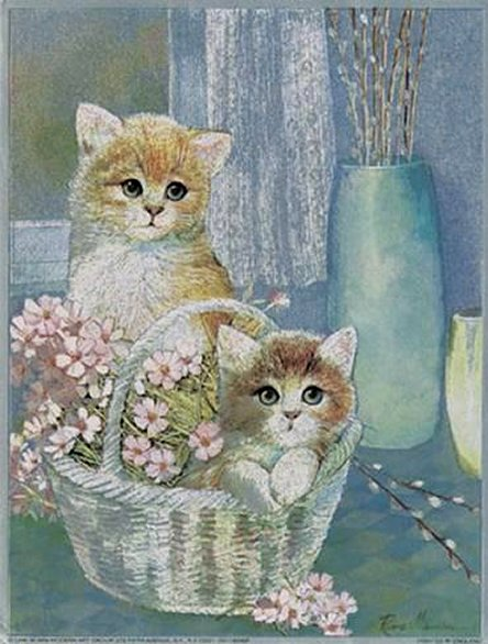 Kittens in Wicker Basket by Ruane Manning, Art Print
