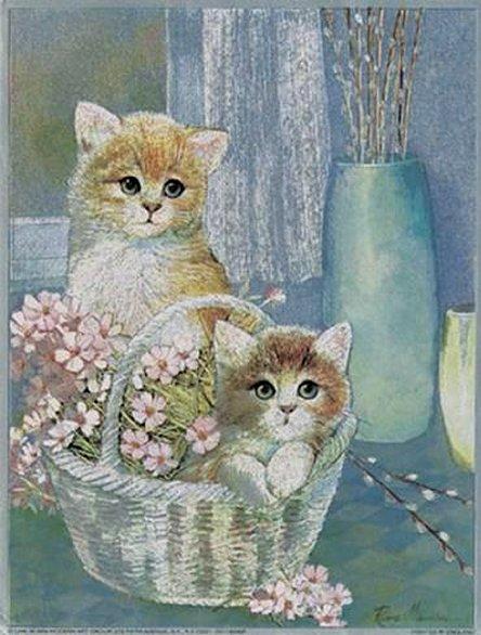 Kittens in Wicker Basket by Ruane Manning, Art Print