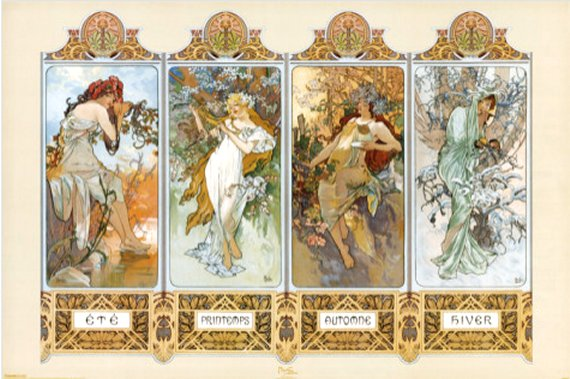 The Four Seasons by Alphonse Mucha, Poster